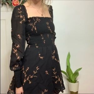 Reformation Floral NWT Black Kelli Peasant Dress